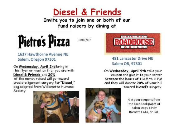 Diesel's Fundraisers--Pietros & Roadhouse